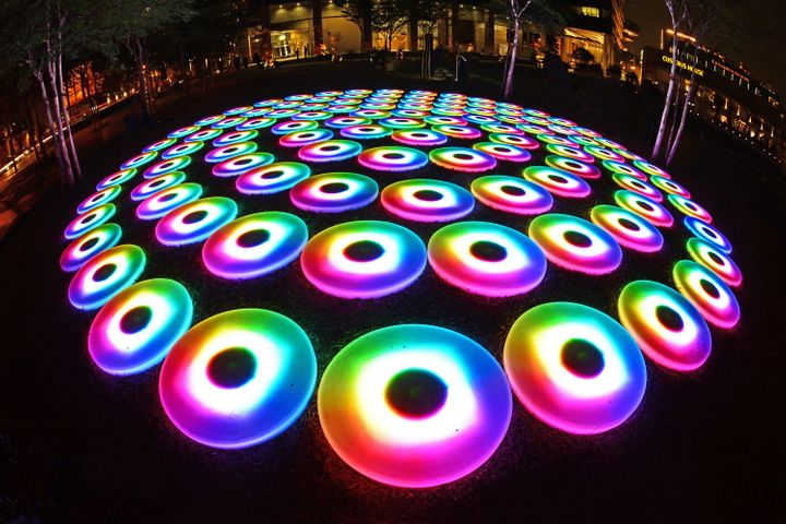 <p>Created by US interactive media artist Jen Lewin, <em>SUPER POOL</em> invites everyone to explore this computerised playground by stepping, running, jumping or even riding across over a hundred circular LED pads, and create your own radiating ripples of light that echo those of others. </p>