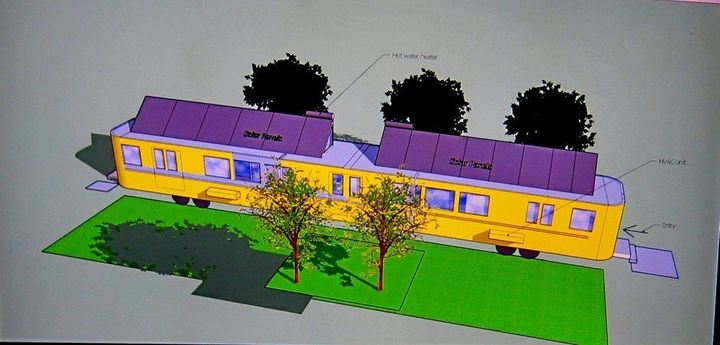 Moore's computer rendering of the Metro car apartments.