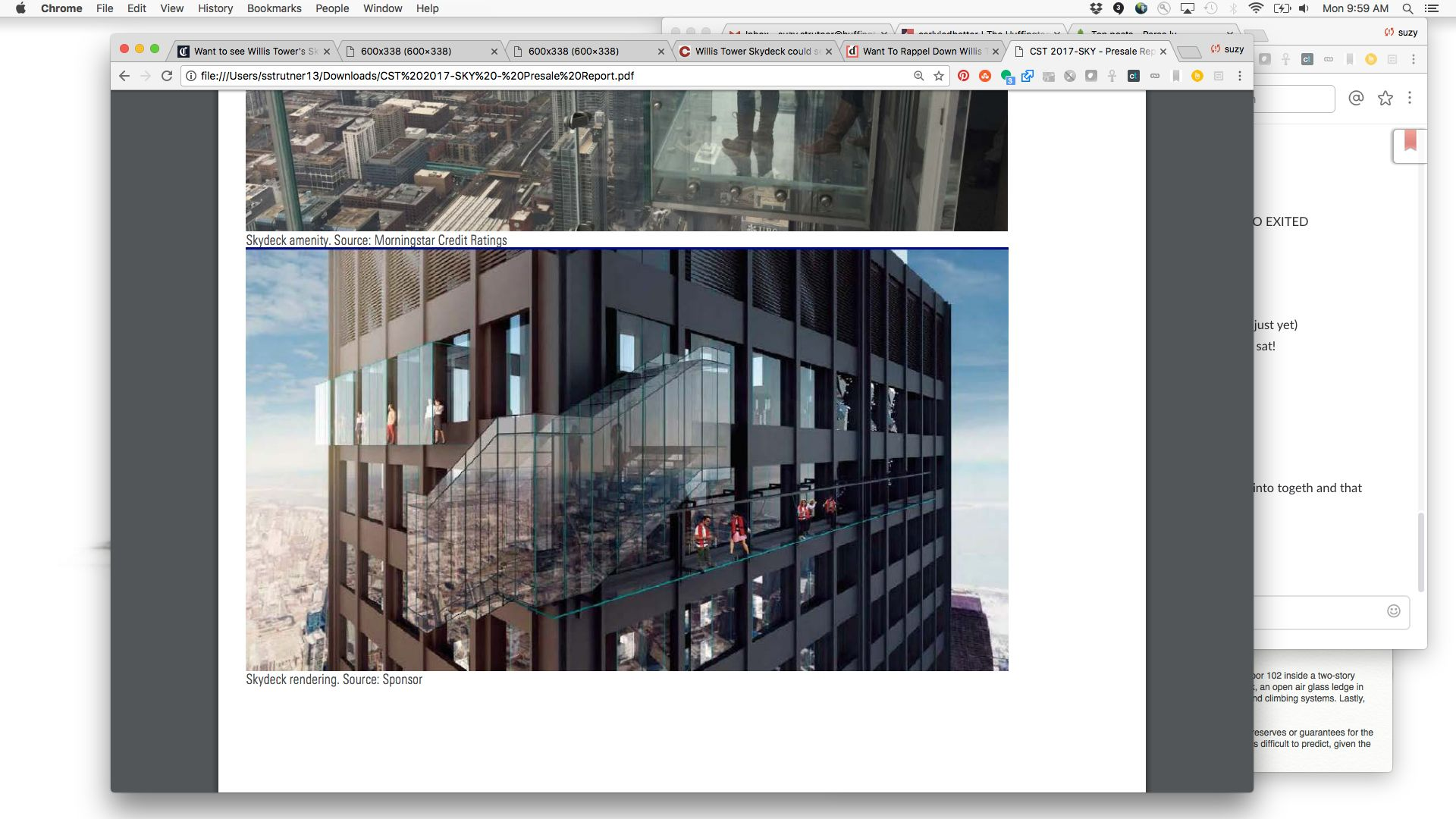A rendering of Ledgewalk shows visitors walking on the edge of Willis Tower.