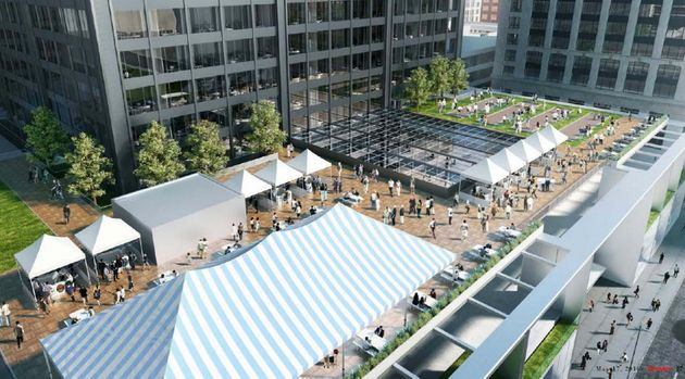 A rendering shows an outdoor market in the tower's outdoor event