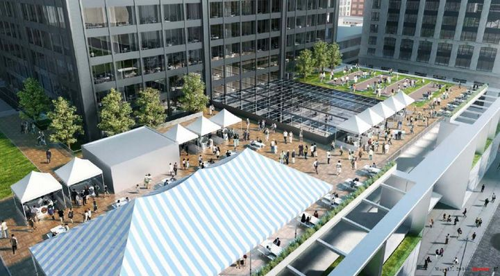 A rendering shows an outdoor market in the tower's outdoor event space.