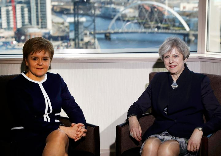 Prime Minister Theresa May and First Minister Nicola Sturgeon meet at the Crowne Plaza hotel in Glasgow