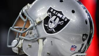 HOUSTON, TX - JANUARY 07: An Oakland Raiders helmet awaits the next series during the NFL AFC Wild Card game between the Oakland Raiders and Houston Texans on January 7, 2017, at NRG Stadium in Houston, Texas. (Photo by Ken Murray/Icon Sportswire via Getty Images)