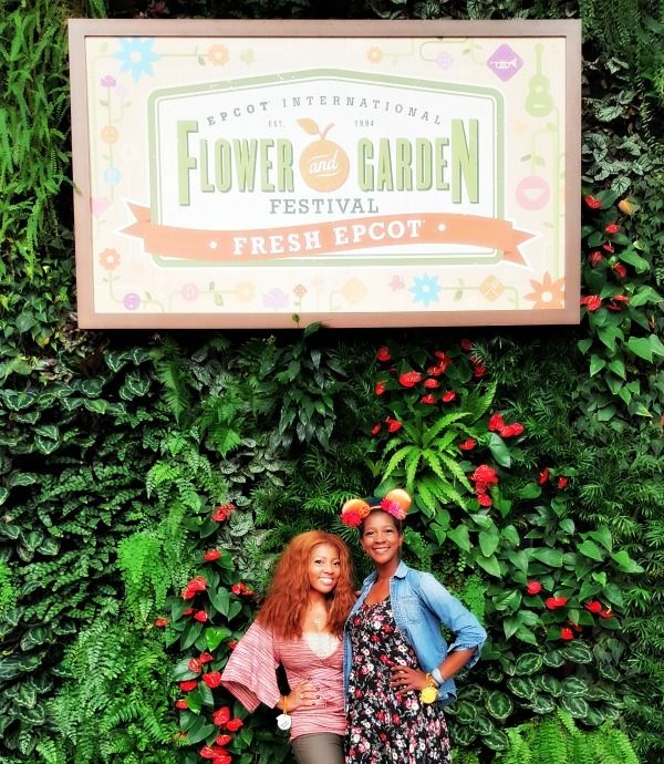 Zondra and A. Comeaux at the Epcot Flower and Garden Show, Walt Disney World.
