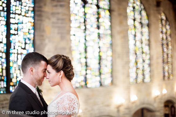 """""""Kelsey and Dan Sharpe were married at the gorgeous St. John's Northwestern Victory Chapel on a chilly winter day in Wi"""