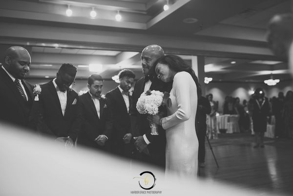 """""""A sweet moment of prayer before he gave his heart away to another. Najmeen and Brian shared an intimate ceremony with family"""