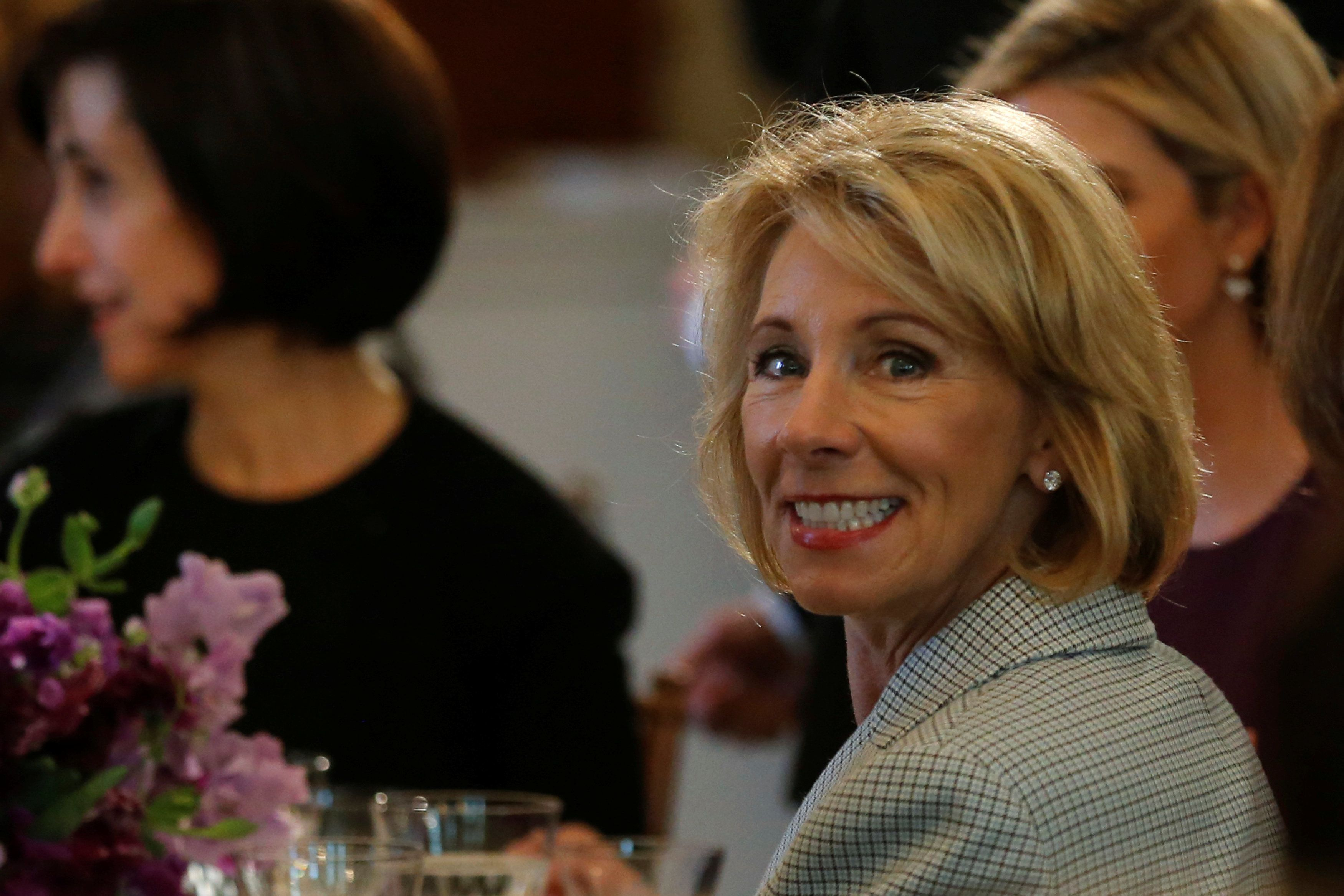 Secretary of Education Betsy DeVos attends first lady Melania Trump's International Women's Day luncheon at the White House o