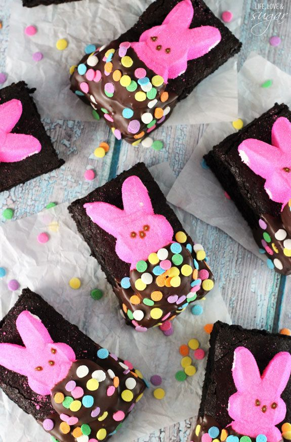 """<strong>Get the <a href=""""http://www.lifeloveandsugar.com/2015/03/18/bunny-peeps-in-a-blanket-brownies/"""" target=""""_blank"""">Bunny"""