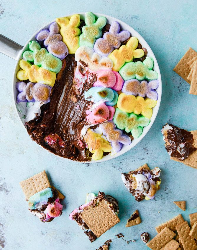 "<strong>Get the <a href=""http://www.howsweeteats.com/2015/04/chocolate-peanut-butter-peeps-skillet-smores/"" target=""_blank"">C"