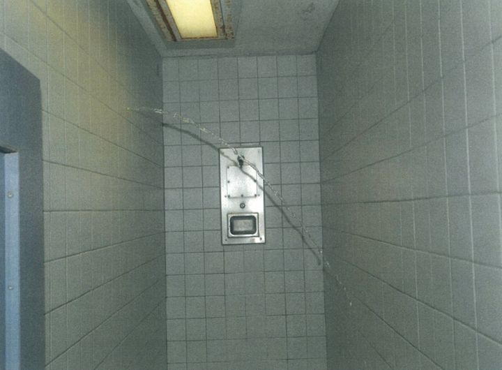 Water flows through the wall and into the shower where inmate Darren Rainey was found dead.