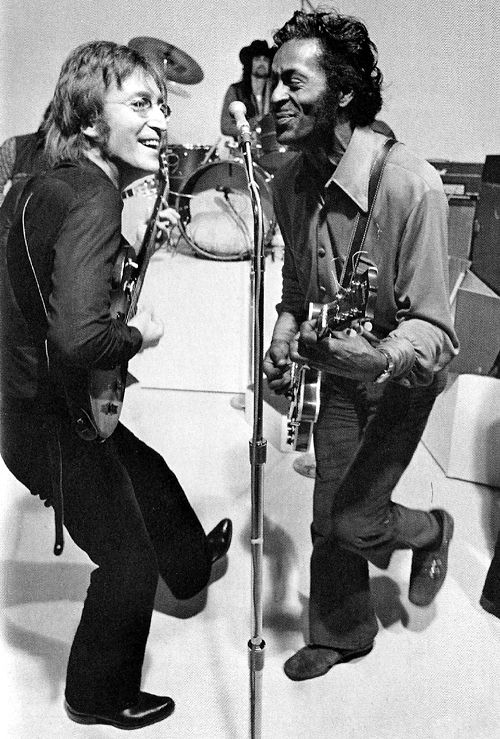 "John Lennon and Chuck Berry performing ""Johnny B. Goode"" on the <em>Mike Douglas Show </em>on February 16, 1972"
