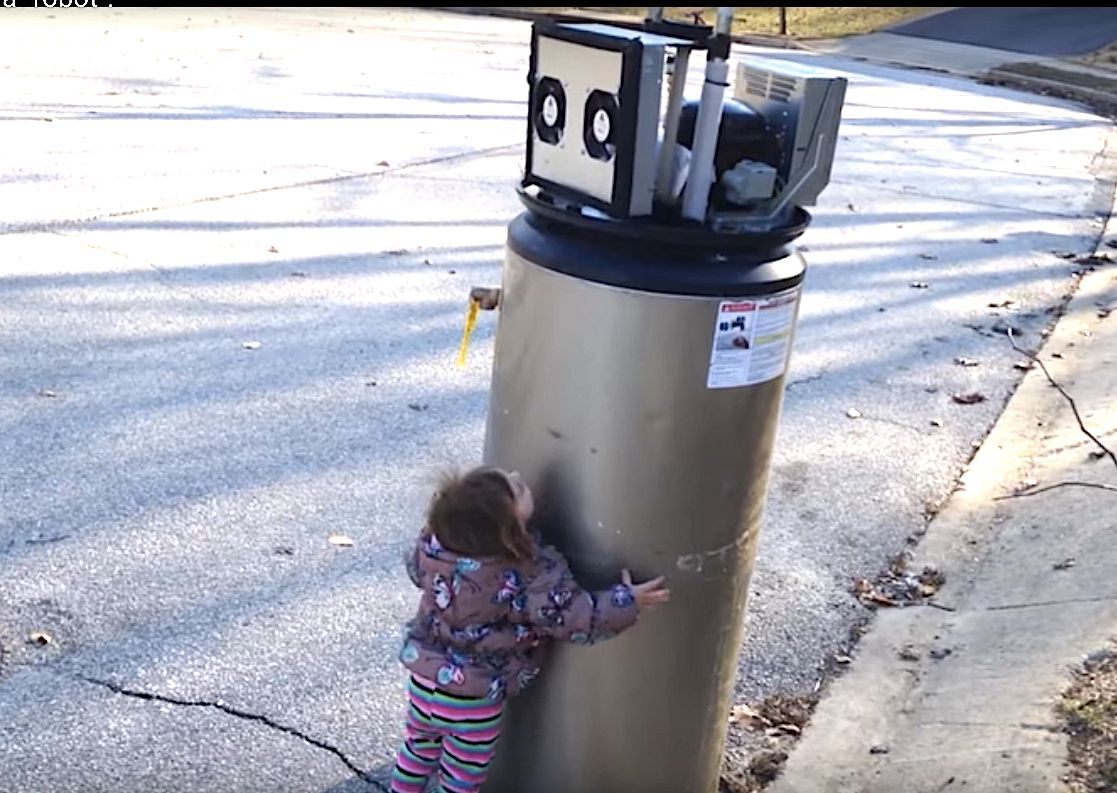 Young Girl Mistakes Water Heater For A Robot And It's