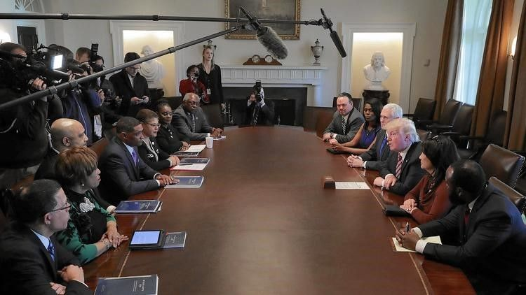 President Donald Trump and Vice President Mike Pence meet with members of the Congressional Black Caucus at the White House o
