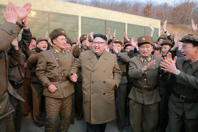 North Korean leader Kim Jong Un watched the ground jet test of a Korean-style high-thrust engine newly...