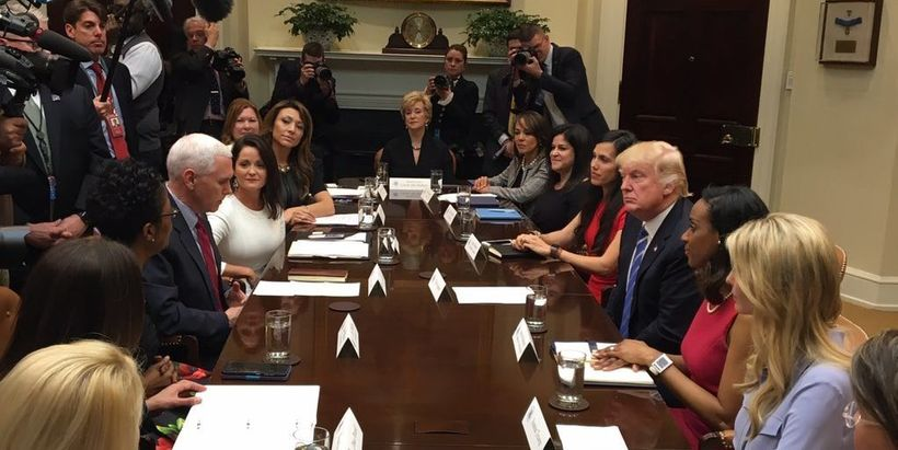 President Trump meets with women small business owners at the White House.