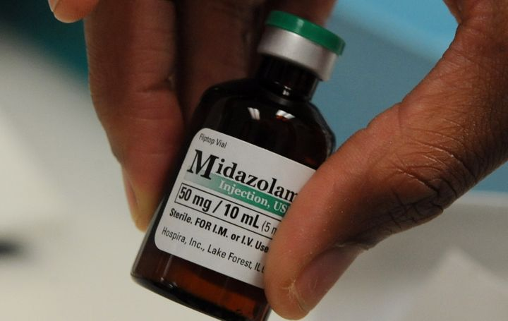 A vial of midazolam, the first in the three-drug lethal injection protocol used in states like Oklahoma, Ohio and Arkansas.&n
