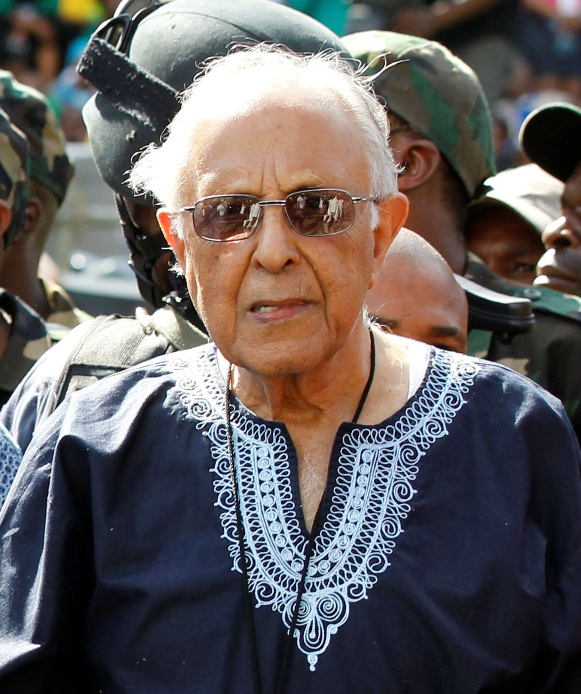 Veteran South African anti-apartheid activist Ahmed Kathrada looks on during the ANC's centenary celebration in Bloemfontein, South Africa, January 8, 2012. Picture taken January 8, 2012. REUTERS/Siphiwe Sibeko