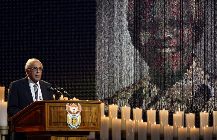 Kathrada spoke at the funeral of former South African President Nelson Mandela in 2013.