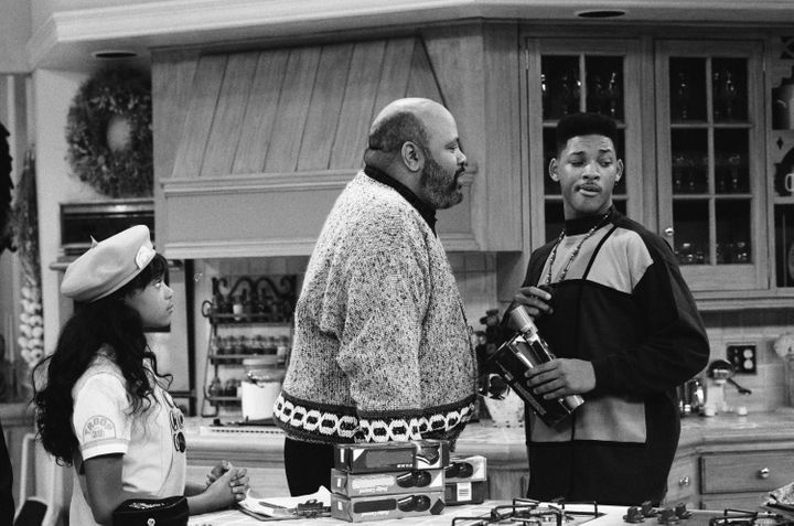 "James Avery and Will Smith (with Tatyana Ali) in ""The Butler Did It"" episode."