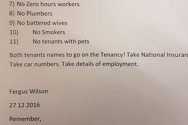 The letting criteria issued by Wilson was leaked late last