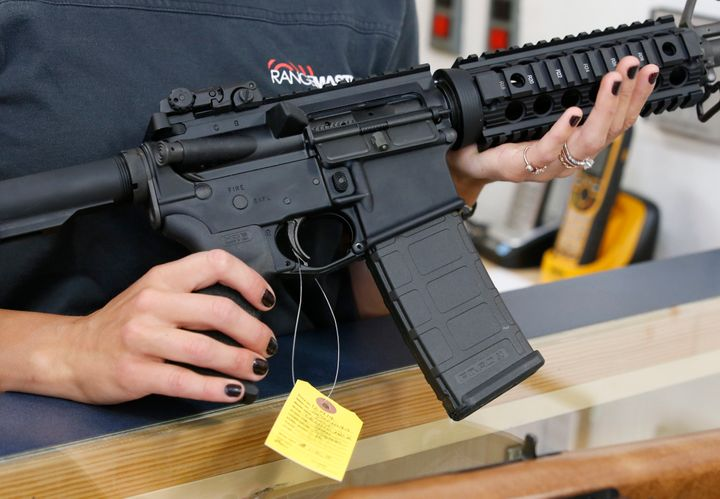 Authorities said the 23-year-old man used an AR-15 semiautomatic gun, similar to the one pictured, to kill the three&nbs
