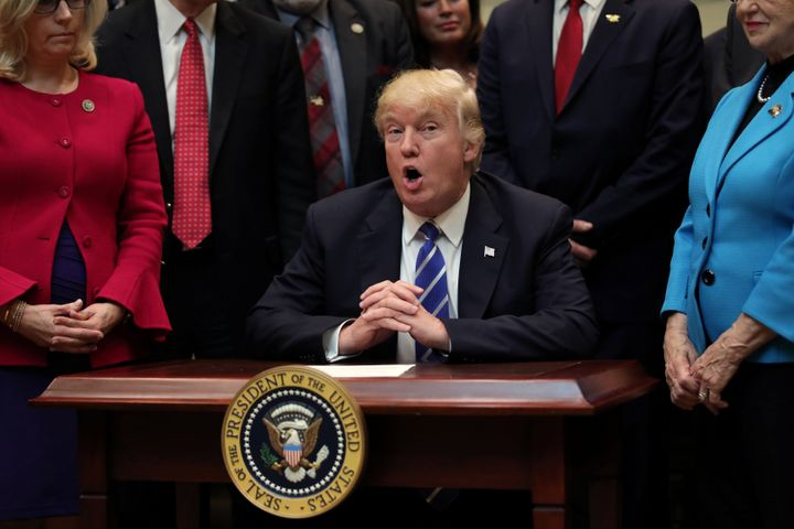 U.S. President Donald Trump speaks during a bill signing event in the Roosevelt room of the White House in Washington, U.S., March 27, 2017.