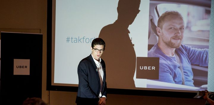 Uber Denmark's spokesperson Kristian Agerbo appears at a news conference to announce Uber's end of service in Denmark in