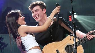 MIAMI, FL - DECEMBER 18:  Camila Cabello and Shawn Mendes perform onstage during the 2015 Y100 Jingle Ball at BB&T Center on December 18, 2015 in Sunrise, Florida.  (Photo by Taylor Hill/FilmMagic)