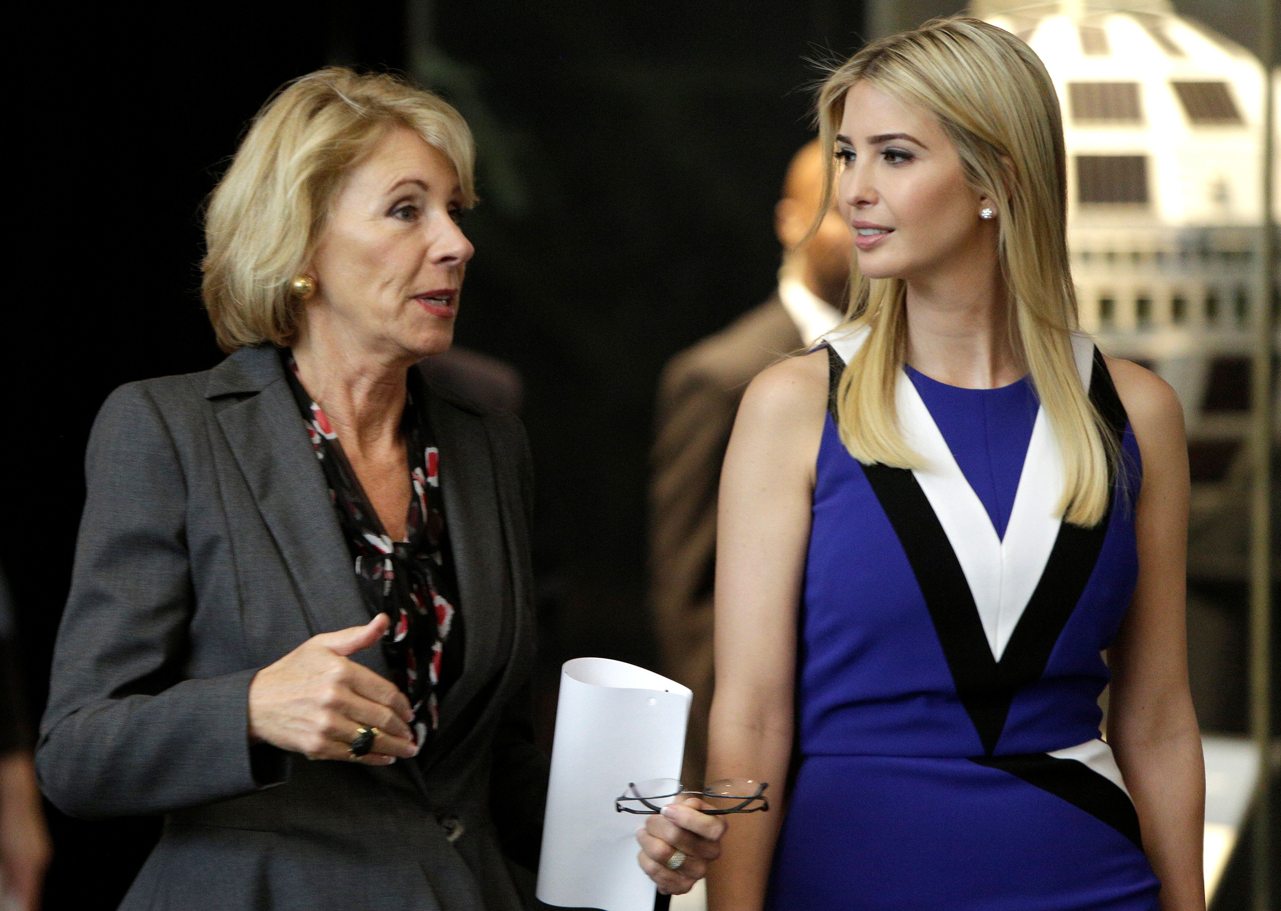 U.S. Secretary of Education Betsy DeVos and Ivanka Trump speaks during a visit to the Smithsonian's National Air and Space Museum in Washington, U.S., March 28, 2017. REUTERS/Joshua Roberts