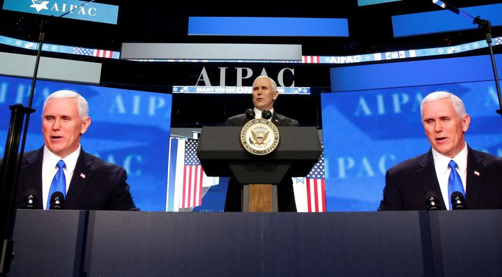 U.S. Vice President Mike Pence speaks at the American Israel Public Affairs Committee (AIPAC) policy conference in Washington