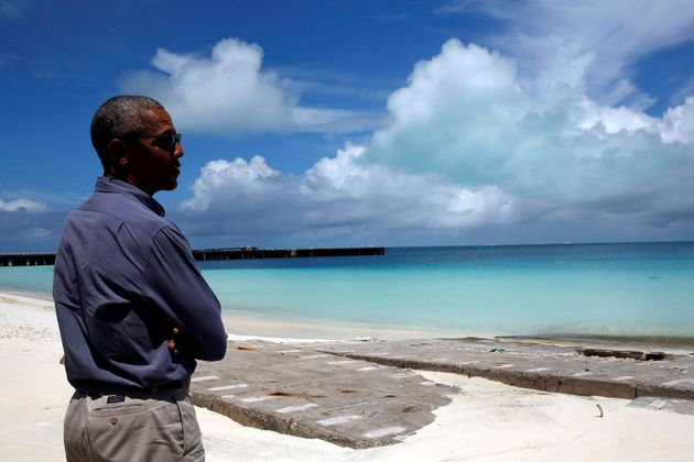 Obama at Turtle Beach at the Midway Atoll, Sept. 1,