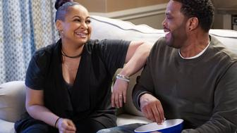 BLACK-ISH - 'What Lies Beneath' - Dre's sister Rhonda is in town, and he feels a little jealous of her close relationship with Pops. Dre and Bow urge Zoey to take Junior to a high school party, and things get out of hand. Meanwhile, the twins feel like they're soon to be forgotten, so they decide to live life to the fullest, on 'black-ish,' WEDNESDAY, APRIL 5 (9:31-10:00 p.m. EDT), on The ABC Television Network. (Ron Tom/ABC via Getty Images) RAVEN-SYMONE, ANTHONY ANDERSON