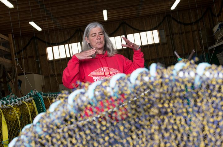 Sara Skamser and her husband, John, design and make fishing nets as owners of Foulweather Trawl in Newport, Oregon. Skamser,