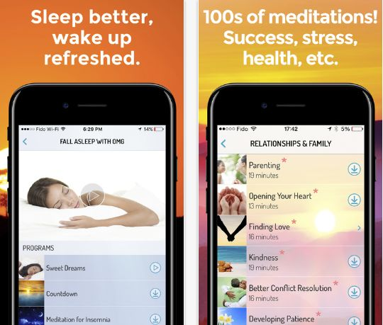 """Meditations on the <a href=""""https://app.omgmeditate.com/#/"""" target=""""_blank"""">OMG! I Can Meditate</a> app are broken down by in"""