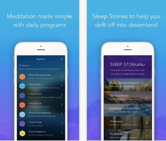 """The <a href=""""https://www.calm.com/subscribe"""" target=""""_blank"""">Calm</a> mindfulness app offers guided meditationsin sessi"""