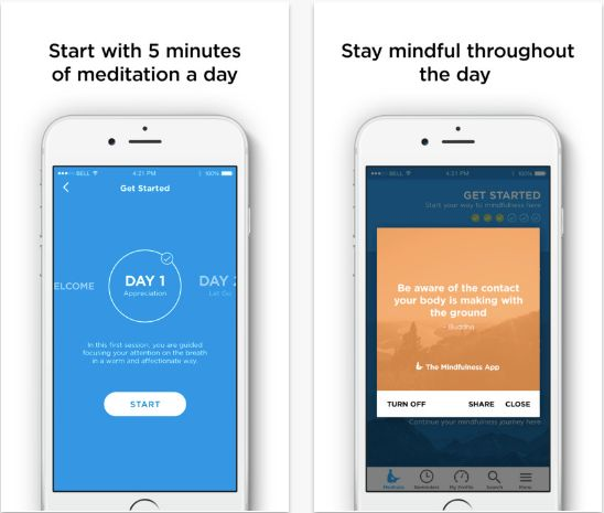 """The <a href=""""http://themindfulnessapp.com/"""" target=""""_blank"""">Mindfulness</a> app provides timed meditations from three to 30 m"""