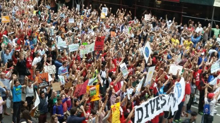 The Peoples Climate March in NYC in 2014.