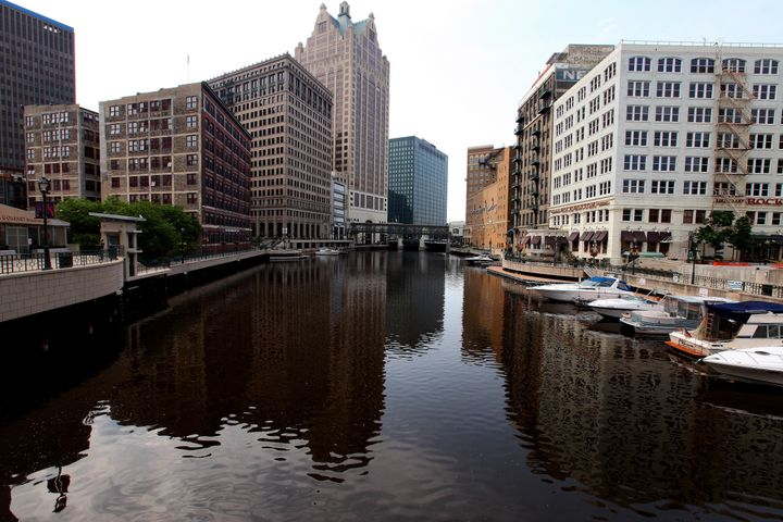 Office buildings line the Milwaukee River. Environmentalists fear that cuts at the EPA could further threaten the state'