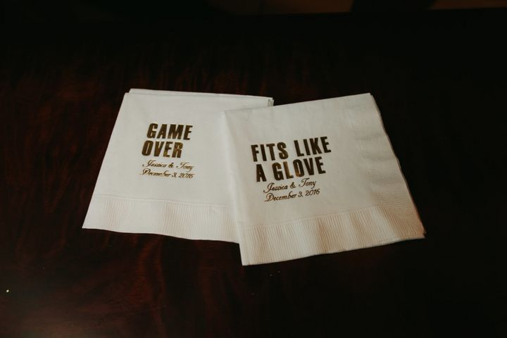 The couple's baseball-themed cocktail napkins.