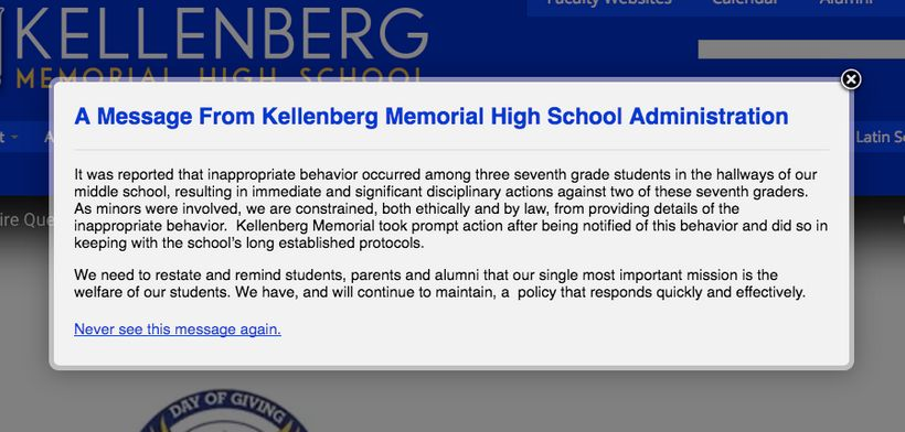Kellenberg's only response to the incident.
