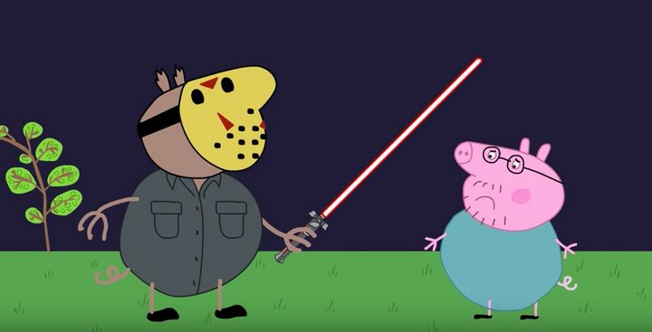 """A 'Peppa Pig' parody where a camping trip """"goes wrong""""."""