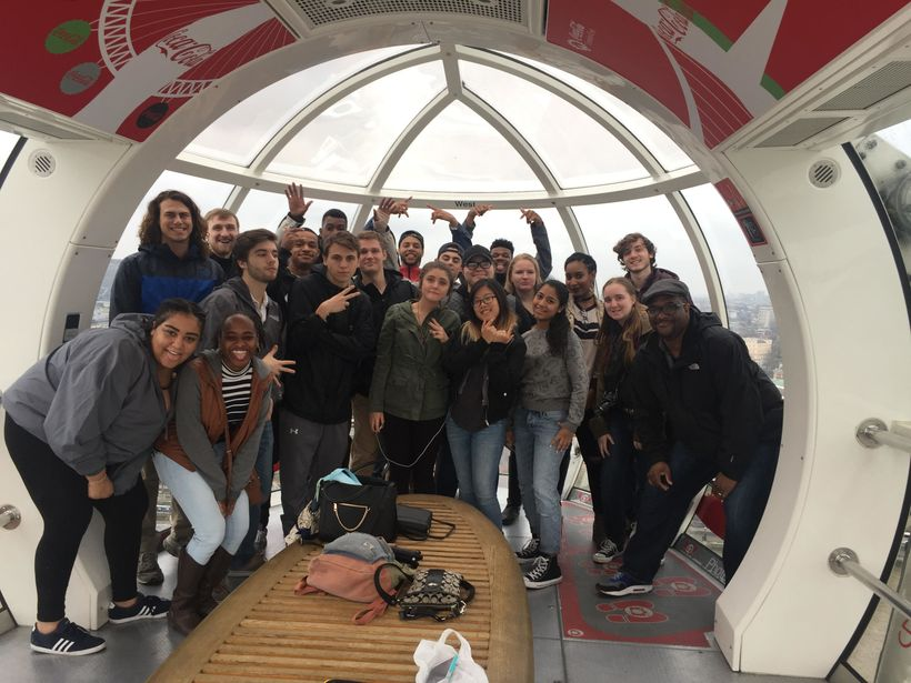 Dr. Bruce Campbell Jr. Of Arcadia University with his students on the London Eye.
