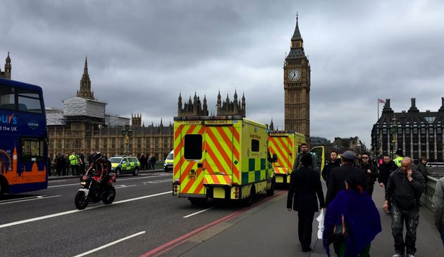 Emergency services on Westminster Bridge following reports that a man had fallen in the