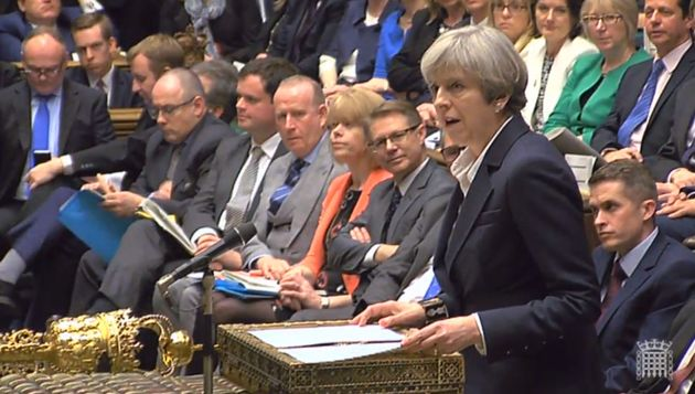 Theresa May announces in the House of Commons, London, that she has triggered Article 50, starting a...
