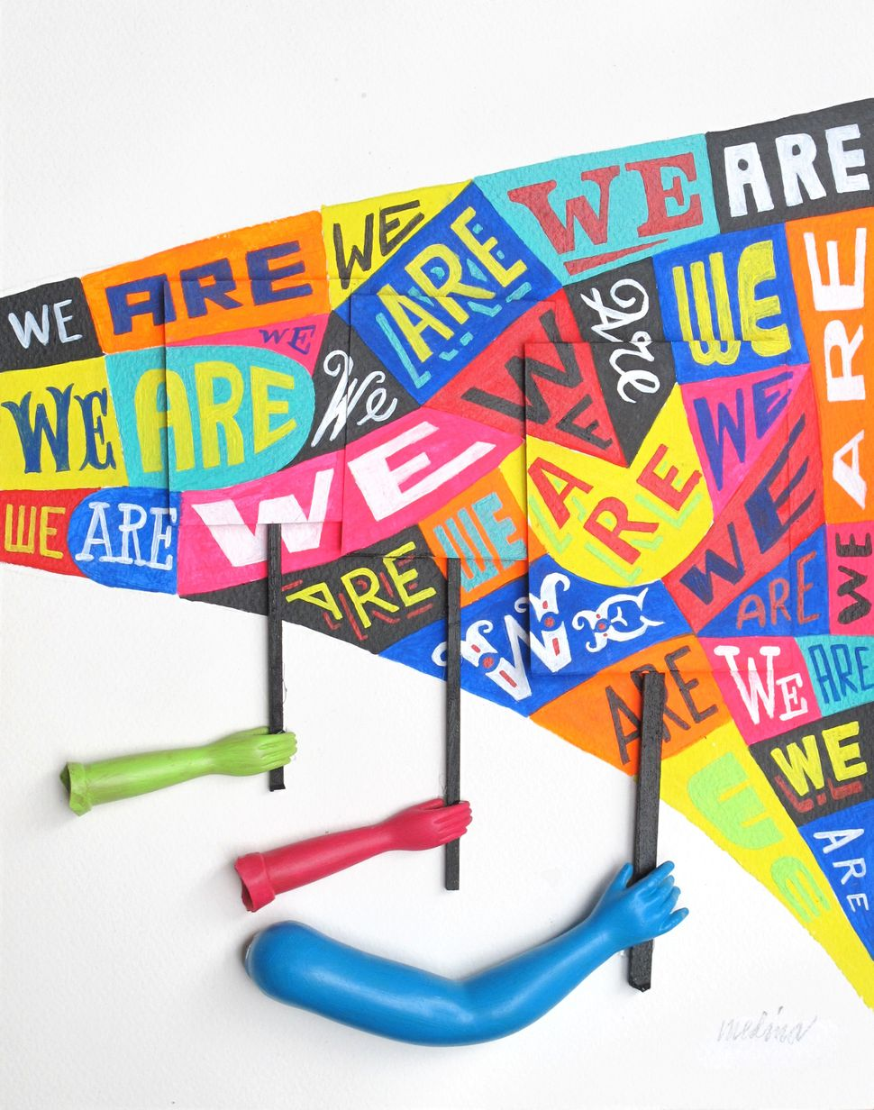 """Pablo A. Medina, """"We Are"""", 2017, acrylic and found objects, 11 by 14 inches, $175."""
