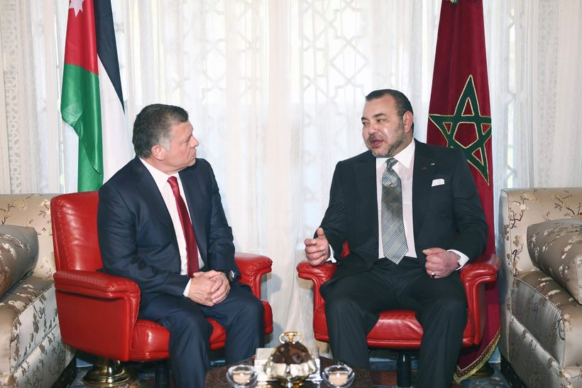 King Abdullah of Jordan meets with Moroccan King Mohammed VI on a visit to Morocco in March 2015.