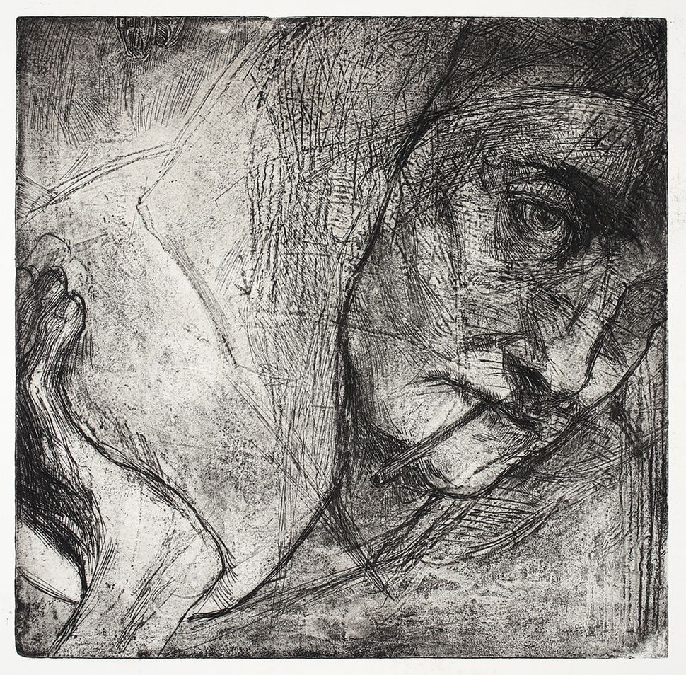 "Nomi Silverman, ""Woman with Satchel"", 2015, intaglio, 12 by 12 inches, Edition: 7, $200."