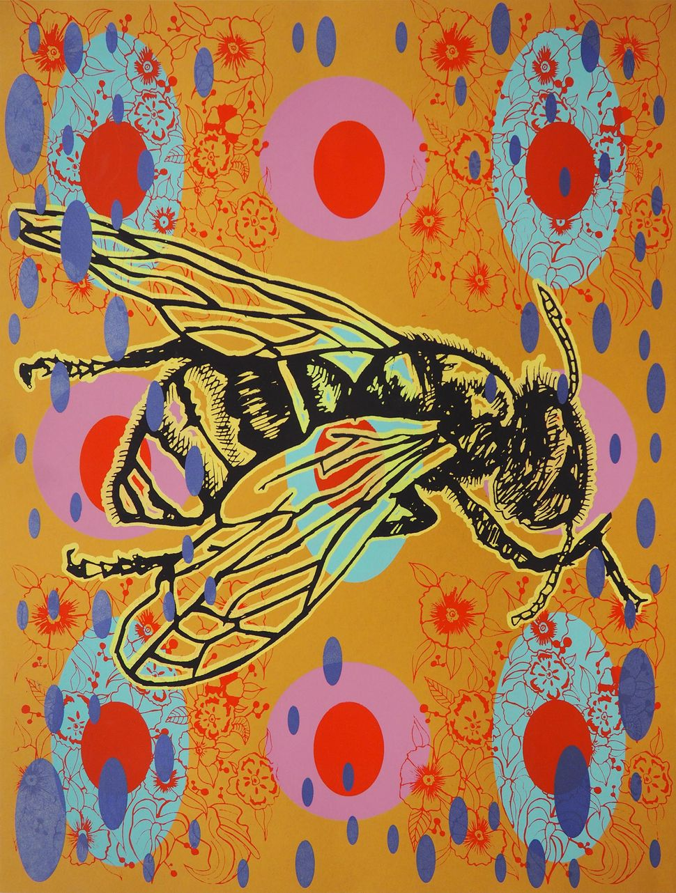 "John Hitchcock, ""Colony Collapse"", 2016, screenprint, Edition: 10 Artist proofs, $75."