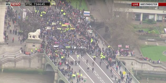 Thousands of people gathered on Westminster Bridge on