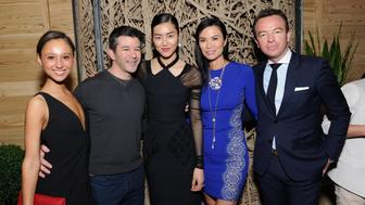 NEW YORK, NY - MAY 02: (L-R) Gabi Holzwarth, CEO of Uber Travis Kalanick, model Liu Wen, Wendi Murdoch and CEO of Qeelin Christophe Artaux attend Liu Wen, Wendi Murdoch, Laurent Claquin x Qeelin Host A Private Cocktail Party To Celebrate The Met Gala Exhibition on May 2, 2015 in New York City.  (Photo by Andrew Toth/Getty Images for Kering)